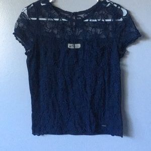 Hollister navy blue lacy top